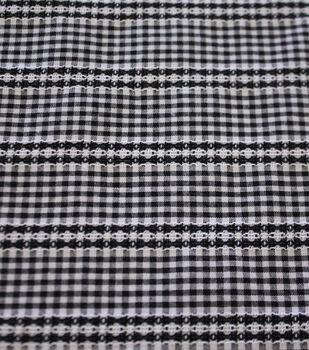 Specialty Cotton Micro Gingham with Stripe Cotton Fabric-Black White
