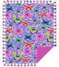 No Sew Fleece Throw-Colorful Butterlfies