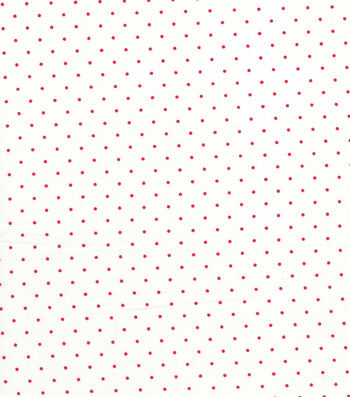 Quilter's Showcase Cotton Fabric -Red Swiss Dots on White