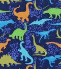 Snuggle Flannel Fabric 42\u0027\u0027-Colorful Dinos on Navy