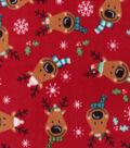 Christmas Anti-Pill Plush Fleece Fabric-Holiday Reindeer Faces