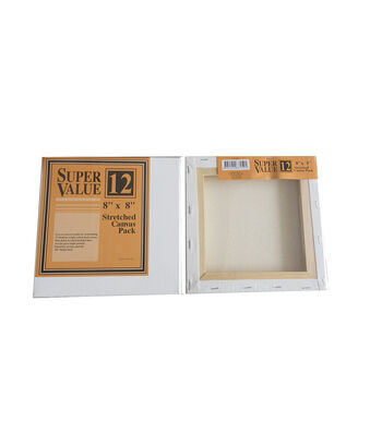 Super Value 12 pk 8''x8'' Stretched Canvases
