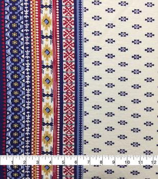 Knit Prints Rayon Spandex Fabric-Yellow Blue Geo Border