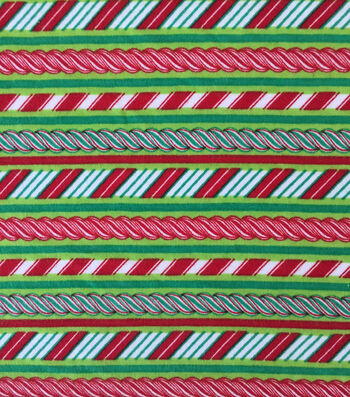 Doodles Christmas Interlock Cotton Fabric -Candy Cane Stripes