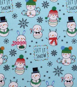 Super Snuggle Flannel Fabric-Snowman Fun on Aqua