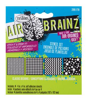 """AirBrainz Airbrush Stencils 4/Pkg-Classic Designs 4""""X4"""""""