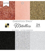 Park Lane 24 Pack 6''x6'' Glitter Cardstock Stacks-Metallics, , hi-res