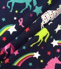 Doodles Cotton Interlock Knit Fabric-Navy Rainbows & Unicorns