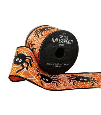 Maker's Halloween Ribbon 2.5''x12'-Spiders on Orange