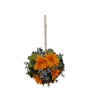 Blooming Autumn Large Daisy, Berry & Leaf Kissing Ball