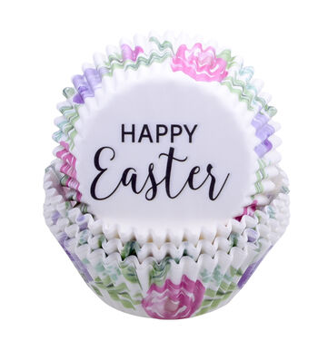 Easter 75 pk Cupcake Liners-Happy Easter & Floral