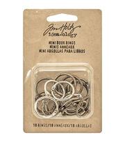 """Tim Holtz Idea-Ology Mini Book Rings .75"""" 18/Pkg-Silver, Antique Brass & Antique Copper, , hi-res"""