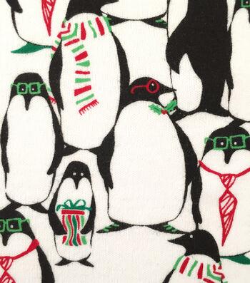 "Doodles Christmas Interlock Cotton Fabric 57""-Penguins In Glasses"