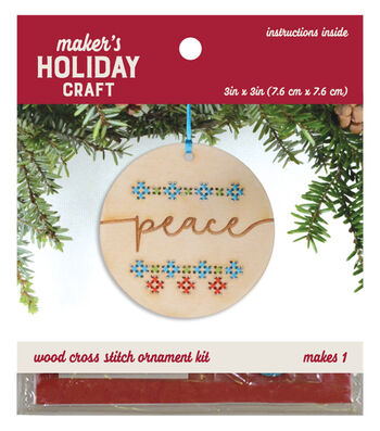 Wood Cross Stitch Ornament Kit-Peace