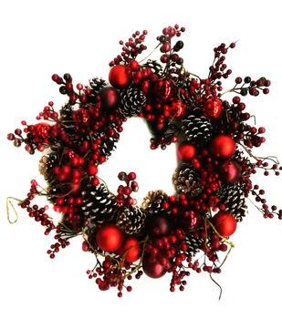 Handmade Holiday Christmas 24'' Pinecone, Red Bulb & Berry Wreath