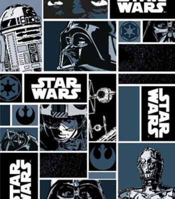 Star Wars Cotton Fabric 44''-Characters in Block