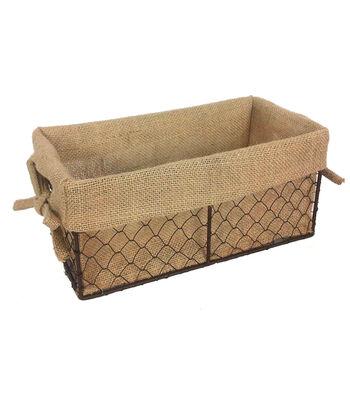 Organizing Essentials 11''x6'' Wire Basket with Burlap Liner