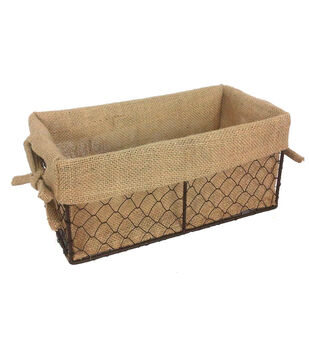 Organizing Essentials 11''x6'' Wire Basket with Burlap Liner