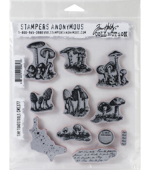 Tim Holtz Cling Stamps 7''X8.5'' Tiny Toadstools