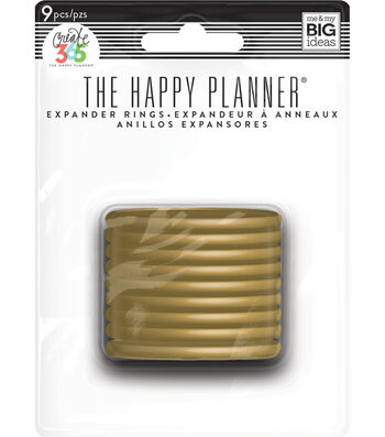 The Happy Planner 9 Pack Expander Rings-Gold Classic
