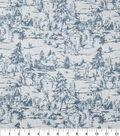 Christmas Glitter Cotton Fabric-Blue Tonal Deer on Landscape