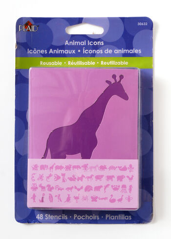 Plaid 48 pk 3'' Value Pack Stencils-Animals Icons