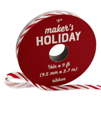 Maker's Holiday Christmas Ribbon 3/8''x9'-Red & White Candy Stripes