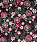 Quilter\u0027s Showcase Cotton Fabric-Floral Medallion on Black