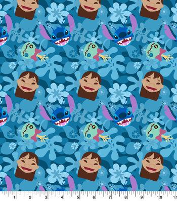 "Disney Lilo and Stitch Cotton Fabric 43""-Stitch Head Toss"