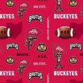 Ohio State University Buckeyes Fleece Fabric -Red