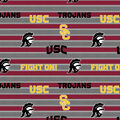 University of Southern California Trojans Fleece Fabric -Stripe