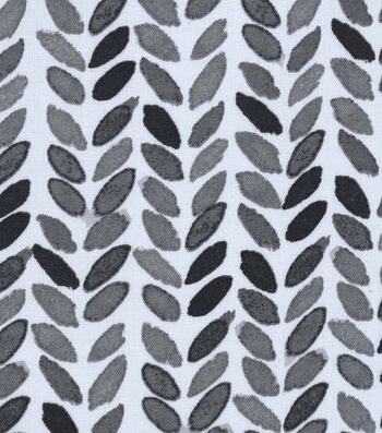 Silky Print Rayon Fabric 53''-Black & Gray Leaves on White