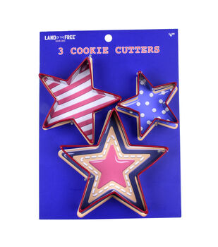 Land of the Free Baking Patriotic 3 pk Star Cookie Cutters