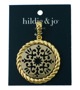 hildie & jo Scroll Cutout Circle Pendant-Gold & Silver