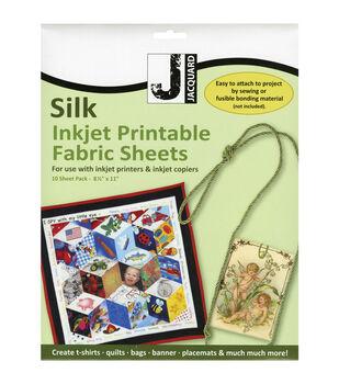 Jacquard 10 pk 100% Silk Habotai Inkjet Printable Fabric Sheets