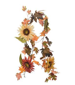 Blooming Autumn Sunflower, Berry & Maple Leaf Garland-Multi