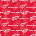 Detroit Red Wings Cotton Fabric-Tone on Tone