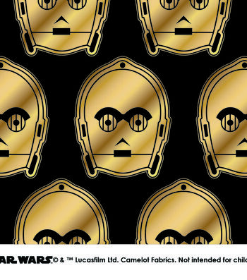 "Star Wars Cotton Fabric 44""-Metallic C3PO"