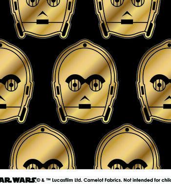 Star Wars Cotton Fabric -Metallic C3PO