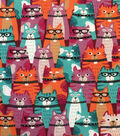 Doodles Cotton Interlock Knit Fabric-Purple Orange Teal Cat Crowd
