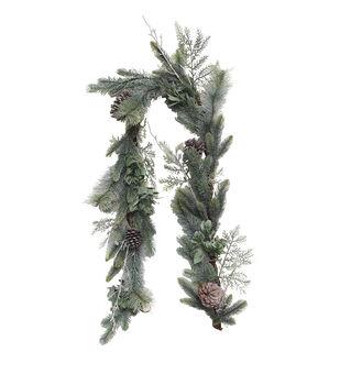 Handmade Holiday Christmas 66'' Flocked Pine & Pinecone Garland
