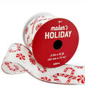 Maker\u0027s Holiday Christmas Ribbon 2.5\u0027\u0027x25\u0027-Holiday Candies on White