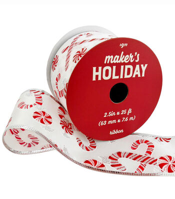Maker's Holiday Christmas Ribbon 2.5''x25'-Holiday Candies on White