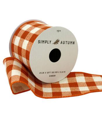 Simply Autumn Ribbon 2.5''x12'-Orange Buffalo Plaid