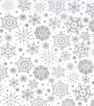 Christmas Cotton Fabric-Snowflakes on White