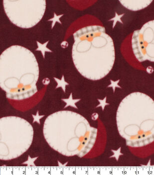 Christmas Anti-Pill Plush Fleece Fabric-Holiday Santa Faces