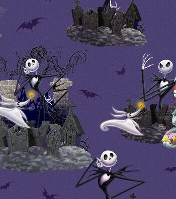 "Nightmare Before Christmas Halloween Cotton Fabric 43""-Scenic"