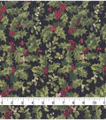 Christmas Cotton Fabric 43\u0022-Holly & Berries Glitter Dots