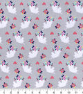 Snuggle Flannel Fabric -Floral & Unicorn Silhouette