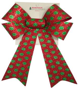 Handmade Holiday Christmas 9'' Glitter Bow-Green Polka Dots on Red